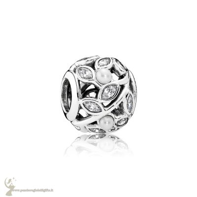 Catalogo Pandora Natura Charms Luminous Leaves Bianca Pearl Chiaro Cz
