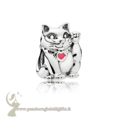 Catalogo Pandora Animali Charms Fortunato Gatto Charm Smalto Rosa