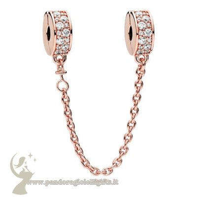 Catalogo Pandora Eleganza Splendente Safety Chain Pandora Rose Chiaro Cz